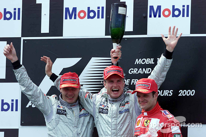 Рубенс Баррикелло, Дэвид Култард и Мика Хаккинен. ГП Франции, Воскресная гонка.