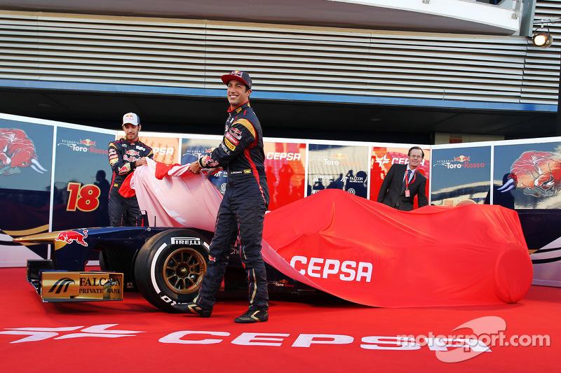 Daniel Ricciardo, Scuderia Toro Rosso en teamgenoot Jean-Eric Vergne, Scuderia Toro Rosso onthullen