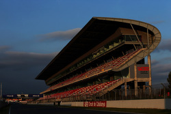 Circuit grandstand at sunset
