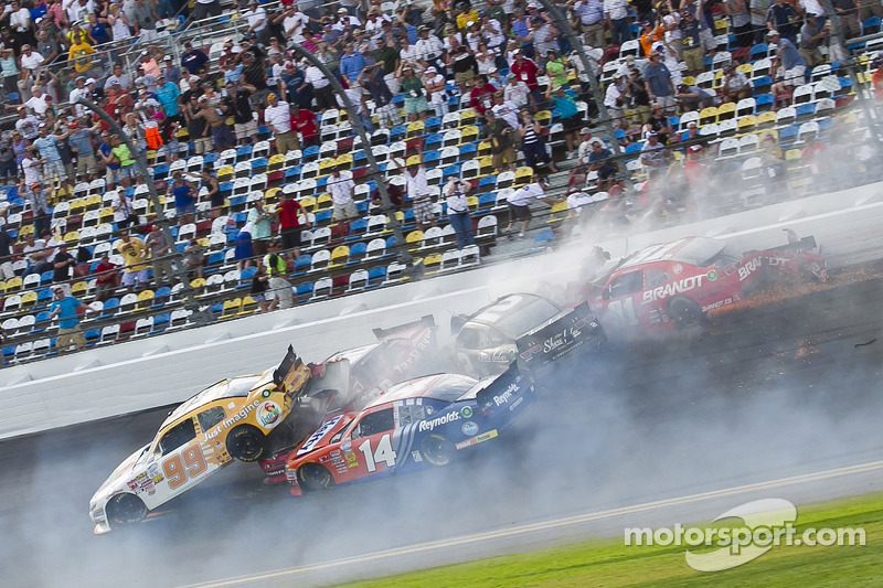 Last lap crash: Alex Bowman and Eric McClure crash with several others