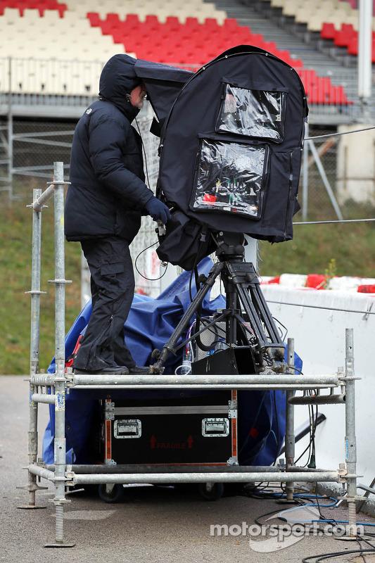 Cameraman e equipamento de TV 3D