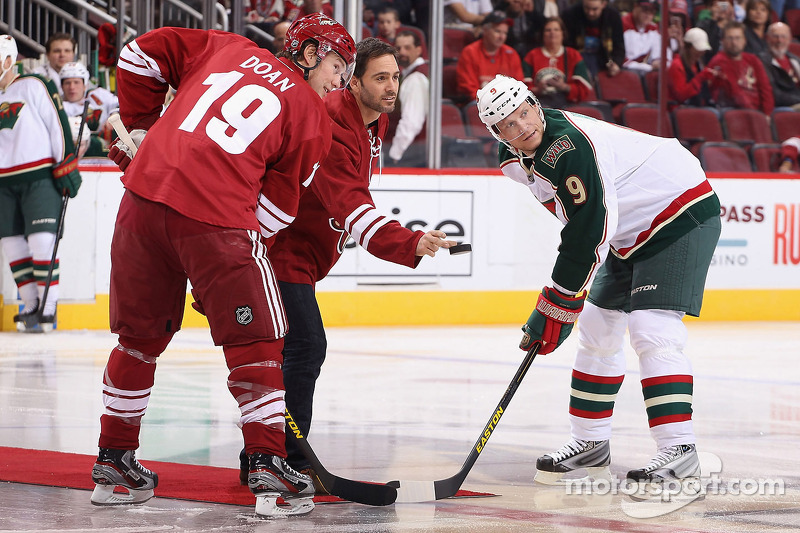 Jimmie Johnson drops the puck at a Phoenix Coyotes NHL game