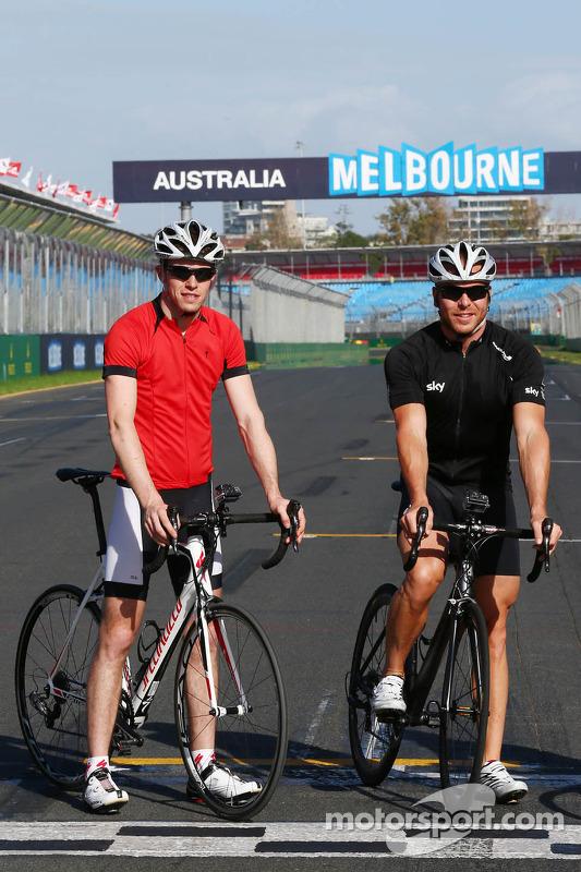 Paul di Resta, Sahara Force India F1 com Sir Chris Hoy, campeão olímpico de ciclismo