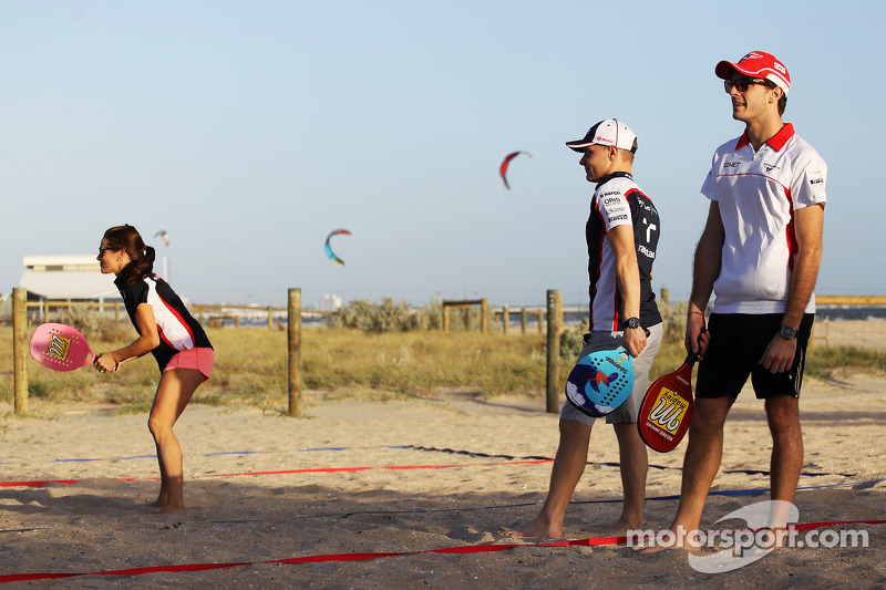 Natalie Pinkham, Sky Sports Presenter plays beach tennis with Valtteri Bottas, Williams and Jules Bianchi, Marussia F1 Team