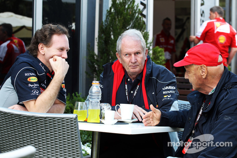 Christian Horner, Teambaas Red Bull Racing met Dr Helmut Marko, Red Bull Motorsport Consultant en Ni