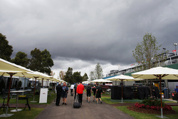 Dark rain clouds over the paddock