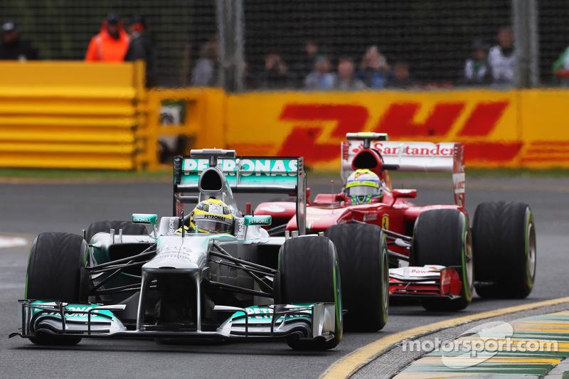 Nico Rosberg, Mercedes AMG F1 W04 leads Felipe Massa, Ferrari F138