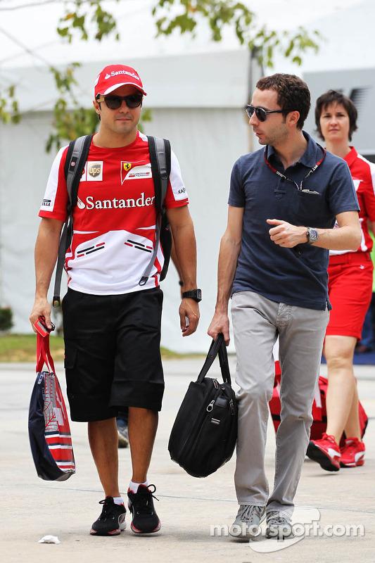 Felipe Massa, Ferrari, com Nicolas Todt, seu manager