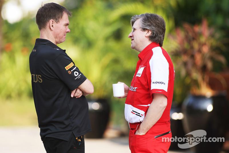 Alan Permane, Lotus F1 Team Trackside Operations Director met Pat Fry, Ferrari Deputy Technical Dire