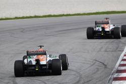 Paul di Resta, Sahara Force India VJM06 leads team mate Adrian Sutil, Sahara Force India VJM06