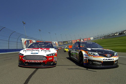 Pace laps: Denny Hamlin and Greg Biffle