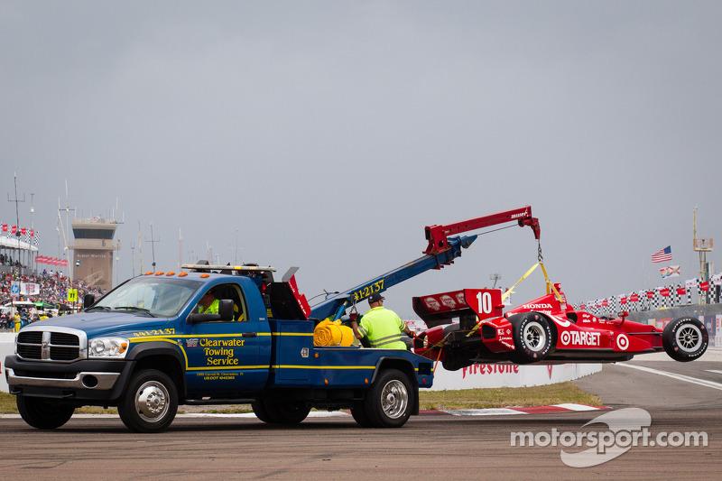 Schade aan de auto van Dario Franchitti, Target Chip Ganassi Racing Honda