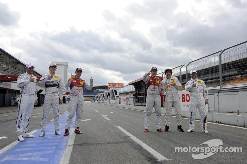 Joey Hand, BMW Team RBM; Christian Vietoris, Team HWA; Jamie Green, Audi Sport Team Abt Sportsline; Mattias Ekström; Audi Sport Team Abt Sportsline;  Robert Wickens, Team HWA, Andy Priaulx; BMW Team RMG