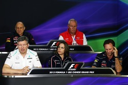 The FIA Press Conference, Scuderia Toro Rosso Team Principal; John Booth, Marussia F1 Team Team Principal; Ross Brawn, Mercedes AMG F1 Team Principal; Claire Williams, Williams Deputy Team Principal; Christian Horner, Red Bull Racing Team Principal.  12.0