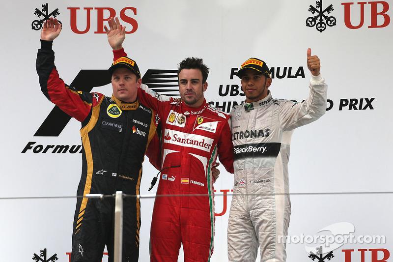 2013: 1. Фернандо Алонсо, 2. Кими Райкконен, 3. Льюис Хэмилтон