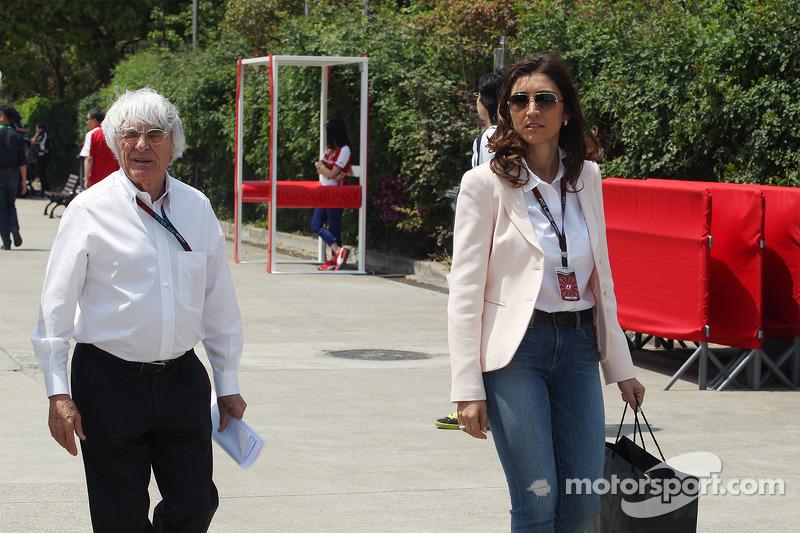 Bernie Ecclestone, CEO Formula One Group, en zijn verloofde Fabiana Flosi