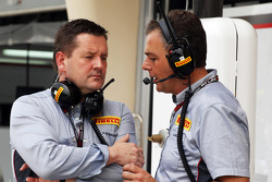 (L to R): Paul Hembery, Pirelli Motorsport Director with Mario Isola, Pirelli Racing Manager