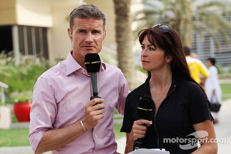 (L naar R): David Coulthard, Red Bull Racing en Scuderia Toro Advisor / BBC-commentator met Suzi Perry, BBC F1-presentatrice