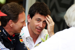 (L to R): Christian Horner, Red Bull Racing Team Principal with Toto Wolff, Mercedes AMG F1 Shareholder and Executive Director, Bernie Ecclestone, CEO Formula One Group