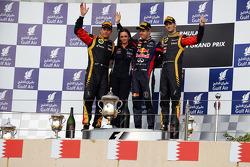 Podium: Kimi Raikkonen, Lotus F1 Team, second; Sebastian Vettel, Red Bull Racing, race winner; Romain Grosjean, Lotus F1 Team, third
