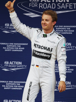 Nico Rosberg, Mercedes AMG F1 celebrates his pole position in parc ferme