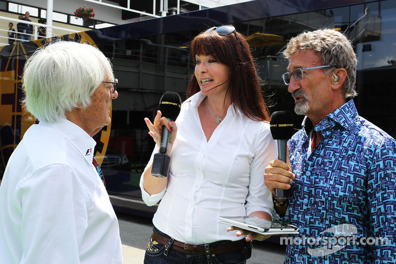 (L to R): Bernie Ecclestone, CEO Formula One Group, with Suzi Perry, BBC F1 Presenter and Eddie Jord