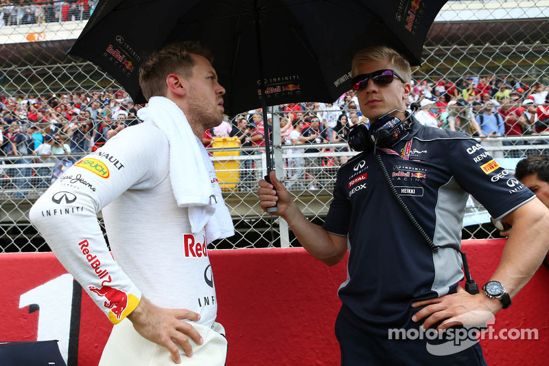Sebastian Vettel, Red Bull Racing on the grid with Heikki Huovinen, Personal Trainer