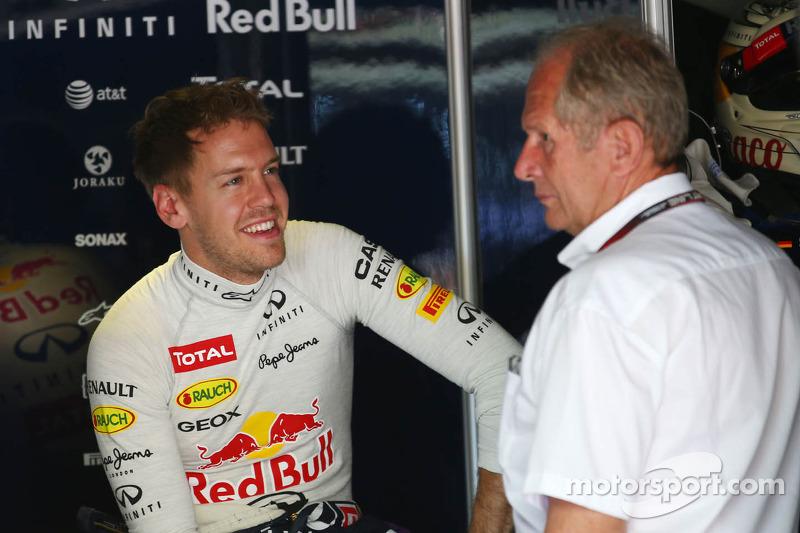 Sebastian Vettel, Red Bull Racing with Dr Helmut Marko, Red Bull Motorsport Consultant