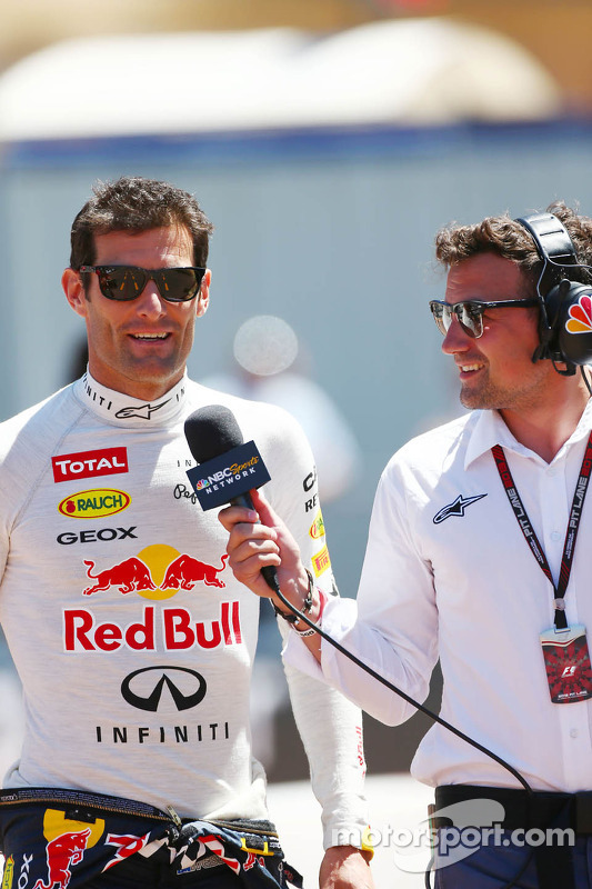 Mark Webber, Red Bull Racing with Will Buxton, NBS Sports Network TV Presenter