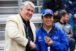 Takuma Sato at the drivers meeting