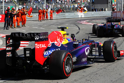 Mark Webber, Red Bull Racing RB9 celebrates at the end of the race