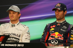 The FIA Press Conference: Nico Rosberg, Mercedes AMG F1, race winner; Mark Webber, Red Bull Racing, third