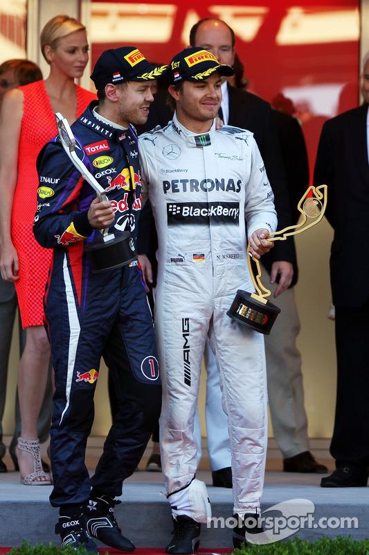 O pódio, Red Bull Racing e vencedor Nico Rosberg, Mercedes AMG F1 noO pódio