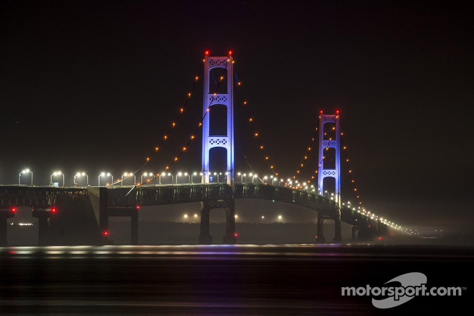The Mackinac Bridge is lit up in blue to promote the Michigan International Speedway and Michigan native Brad Keselowski