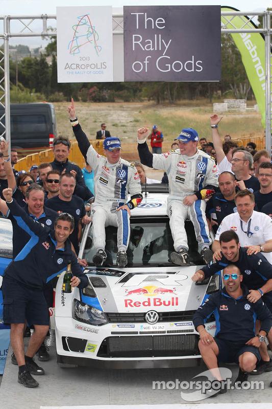 Vencedores Jari-Matti Latvala e Miikka Anttila, Volkswagen Polo WRC, Volkswagen Motorsport