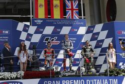 Race winner Jorge Lorenzo, second place Dani Pedrosa, third place Cal Crutchlow