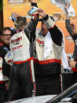 Race winner A.J. Allmendinger celebrates
