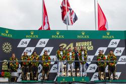 LMP1 podium privateer: class winners Nick Leventis, Jonny Kane, Danny Watts, second place Nicolas Prost, Neel Jani, Nick Heidfeld, third place Mathias Beche, Congfu Cheng