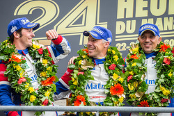 LMGTE Am podium: class winners Raymond Narac, Jean-Karl Vernay, Christophe Bourret