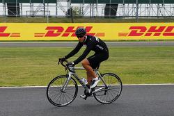 Rodolfo Gonzalez, Marussia F1 Team Reserve Driver rides the circuit.