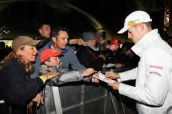 Paul di Resta, Sahara Force India F1 signs autographs for the fans at the Silverstone Woodlands.
