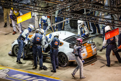 Pit stop for #96 Aston Martin Racing Aston Martin Vantage GTE: Roald Goethe, Stuart Hall, Jamie Campbell-Walter