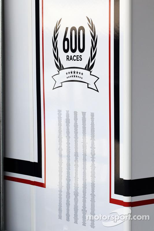 Williams celebrating 600 Grands Prix