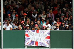 Fans and a flag for Jenson Button, McLaren