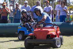 Craig Lowndes, Red Bull Racing and North Queensland Cowboys star player Johnathan Thurston have some fun