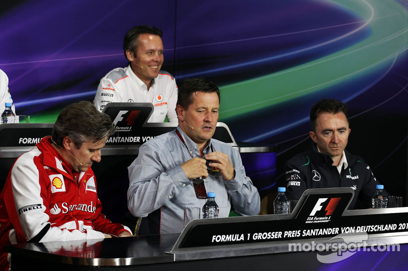 (L to R): Pat Fry, Ferrari Deputy Technical Director and Head of Race Engineering; Paul Hembery, Pirelli Motorsport Director and Paddy Lowe, Mercedes AMG F1 Executive Director, in the FIA Press Conference