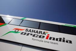 Sahara Force India F1 Team logo on a truck