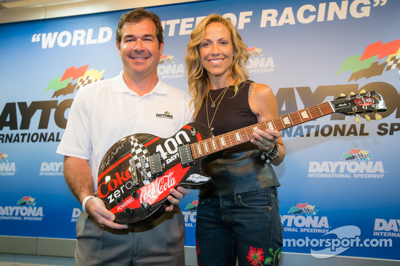 Daytona International Speedway President Joir Chitwood and pre-race concert performing artist Sheryl