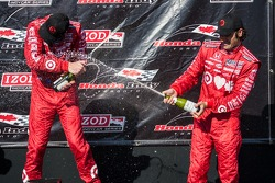Scott Dixon, Target Chip Ganassi Racing Honda Target Chip Ganassi Racing and Dario Franchitti, Target Chip Ganassi Racing Honda celebrate