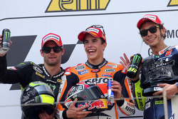 Race winner Marc Marquez, second place Cal Crutchlow, third place Valentino Rossi